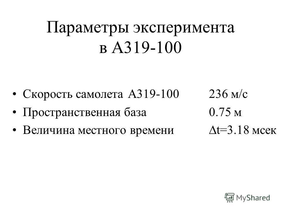 Параметры эксперимента в А319-100 Скорость самолета А319-100236 м/с Пространственная база 0.75 м Величина местного времени t=3.18 мсек