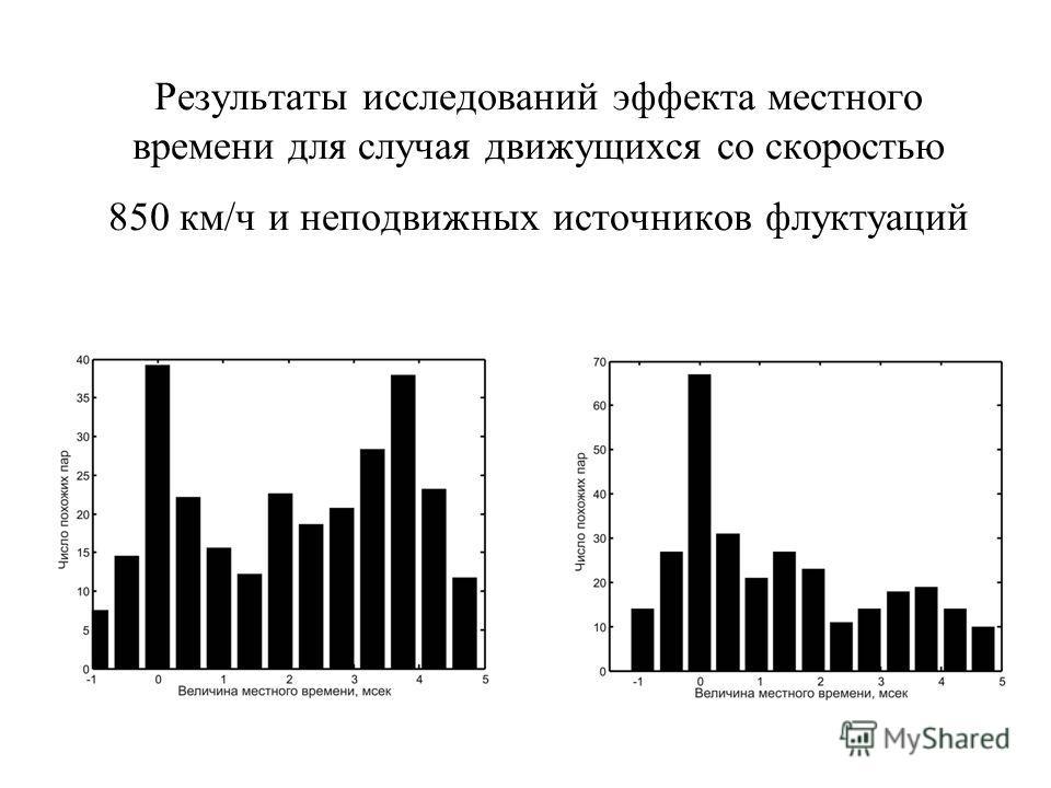 Результаты исследований эффекта местного времени для случая движущихся со скоростью 850 км/ч и неподвижных источников флуктуаций