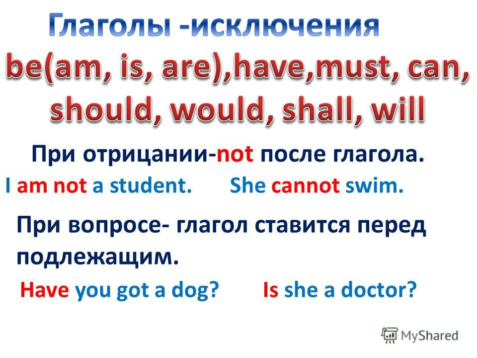 При отрицании-not после глагола. I am not a student. She cannot swim. При вопросе- глагол ставится перед подлежащим. Have you got a dog? Is she a doctor?