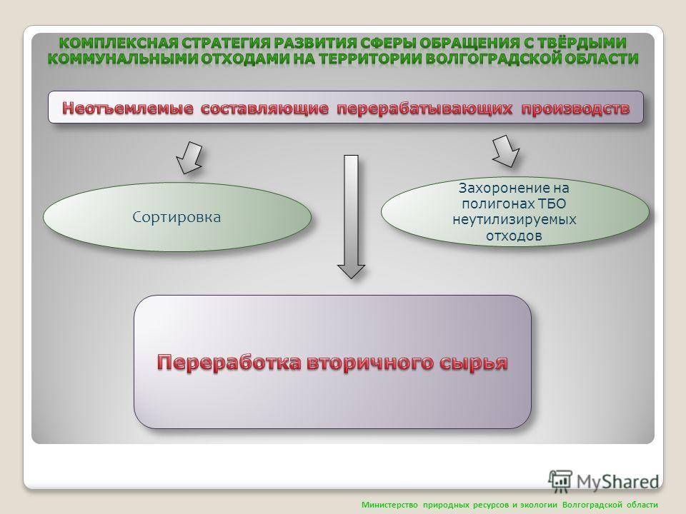 Захоронение на полигонах ТБО неутилизируемых отходов Сортировка