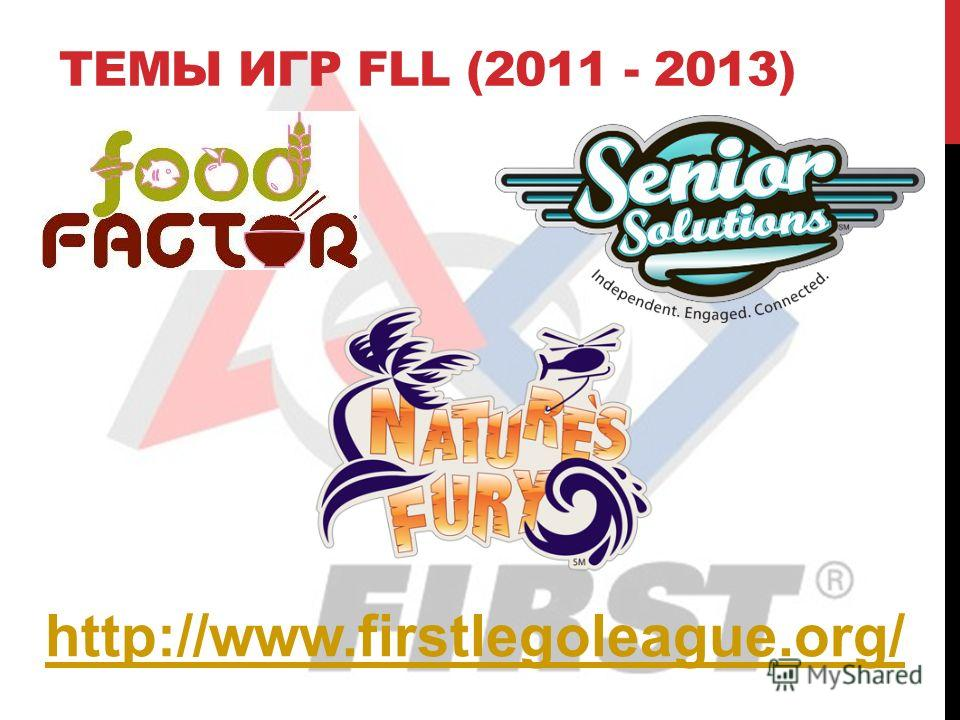 ТЕМЫ ИГР FLL (2011 - 2013) http://www.firstlegoleague.org/