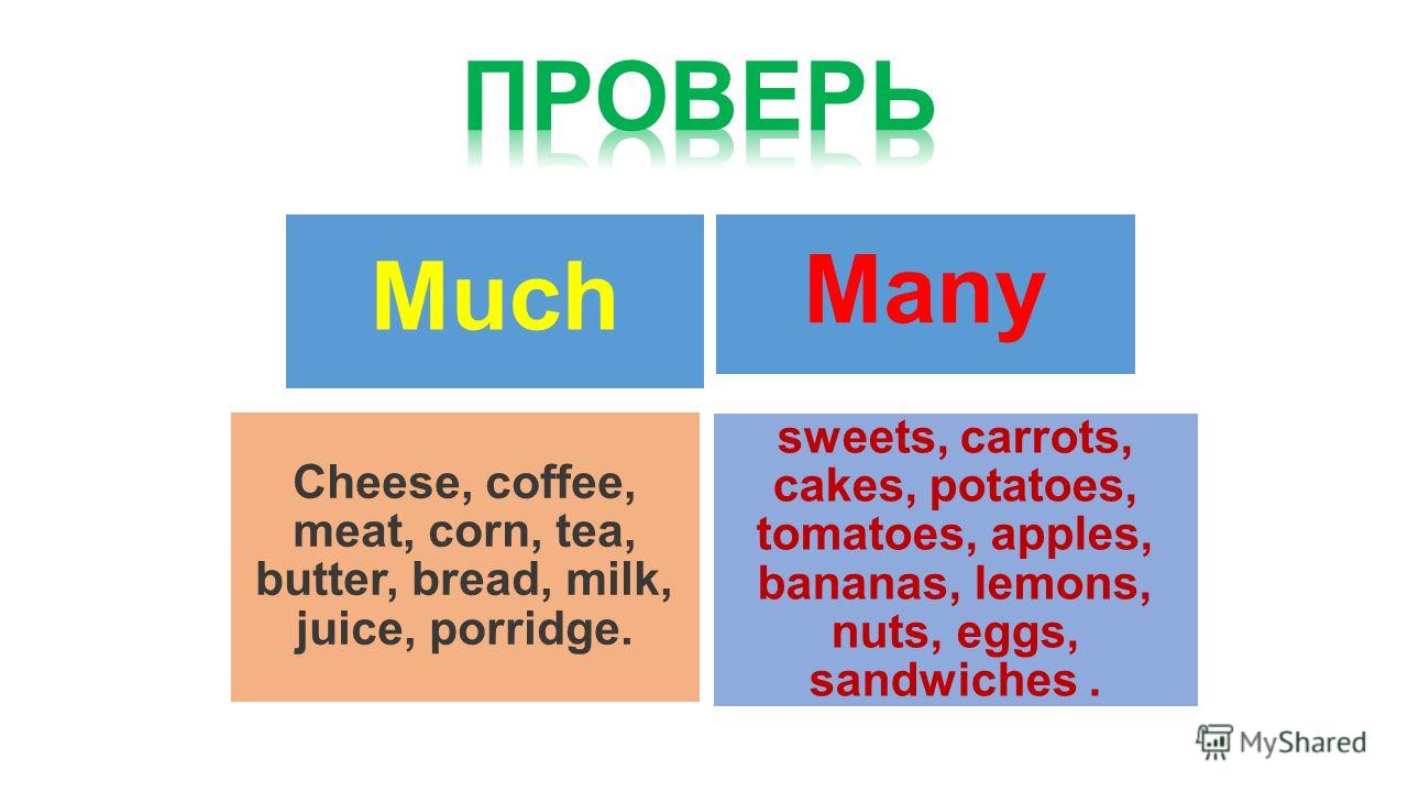 Much Many sweets, carrots, cakes, potatoes, tomatoes, apples, bananas, lemons, nuts, eggs, sandwiches. Cheese, coffee, meat, corn, tea, butter, bread, milk, juice, porridge.