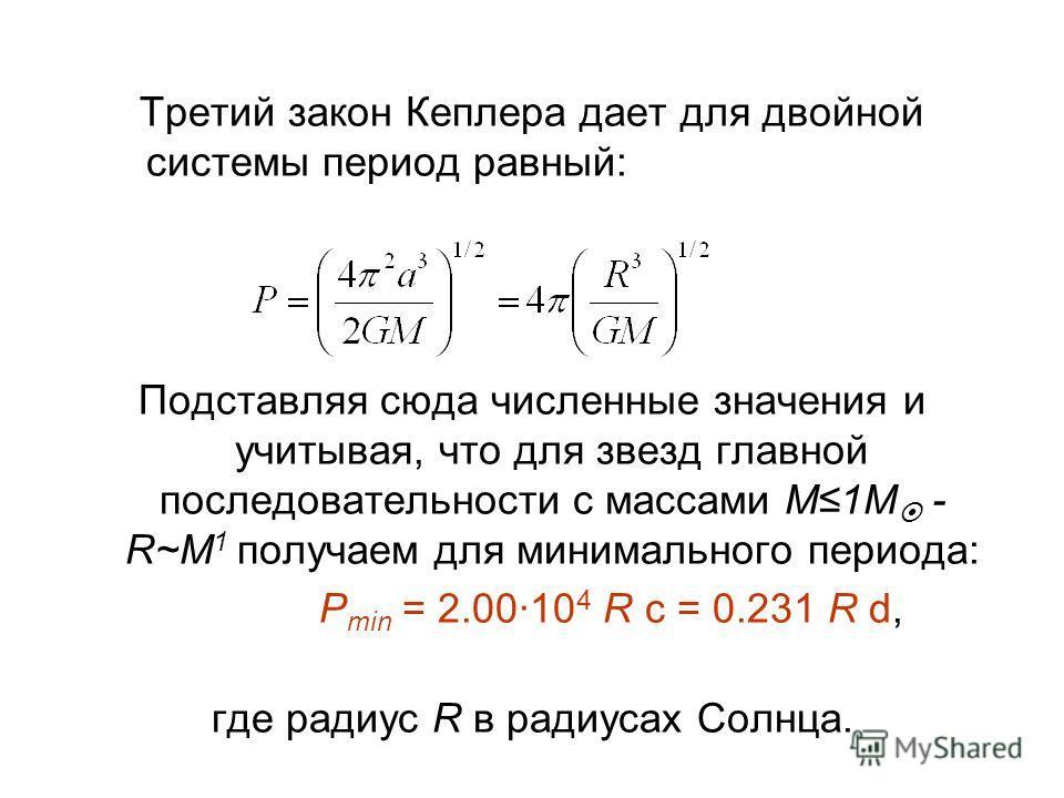 Третий закон Кеплера дает для двойной системы период равный: Подставляя сюда численные значения и учитывая, что для звезд главной последовательности с массами M1M - R~M 1 получаем для минимального периода: P min = 2.0010 4 R c = 0.231 R d, где радиус