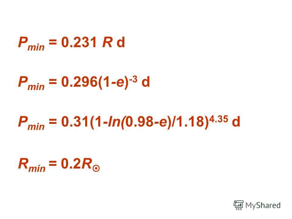 P min = 0.231 R d P min = 0.296(1-e) -3 d P min = 0.31(1-ln(0.98-e)/1.18) 4.35 d R min = 0.2R