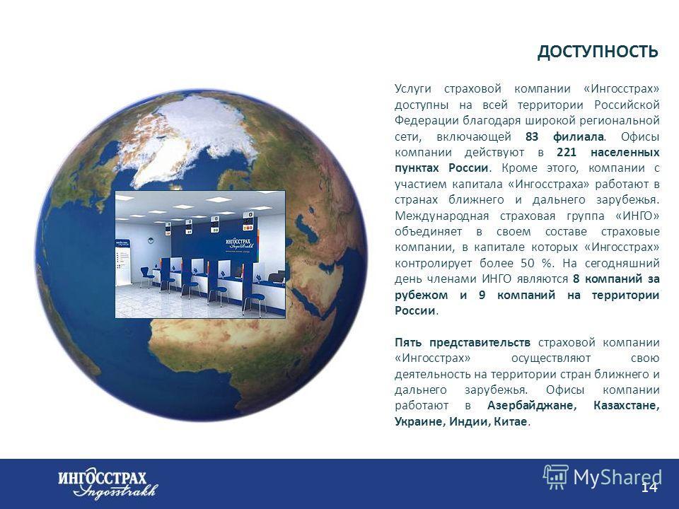 14 Услуги страховой компании «Ингосстрах» доступны на всей территории Российской Федерации благодаря широкой региональной сети, включающей 83 филиала. Офисы компании действуют в 221 населенных пунктах России. Кроме этого, компании с участием капитала