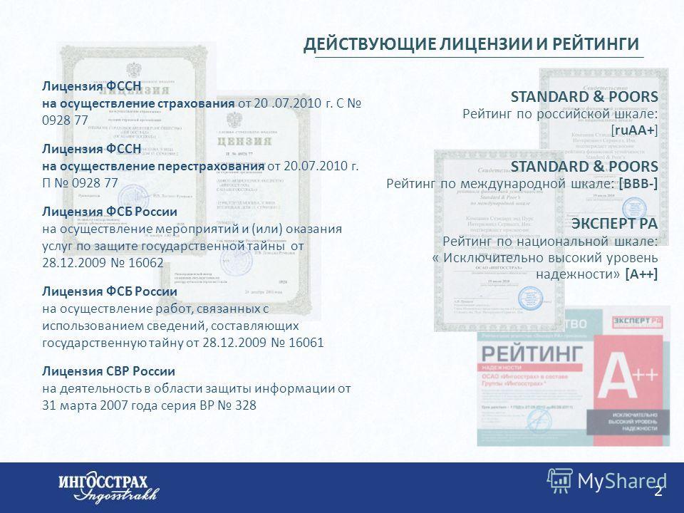 2 Лицензия ФССН на осуществление страхования от 20.07.2010 г. С 0928 77 Лицензия ФССН на осуществление перестрахования от 20.07.2010 г. П 0928 77 Лицензия ФСБ России на осуществление мероприятий и (или) оказания услуг по защите государственной тайны