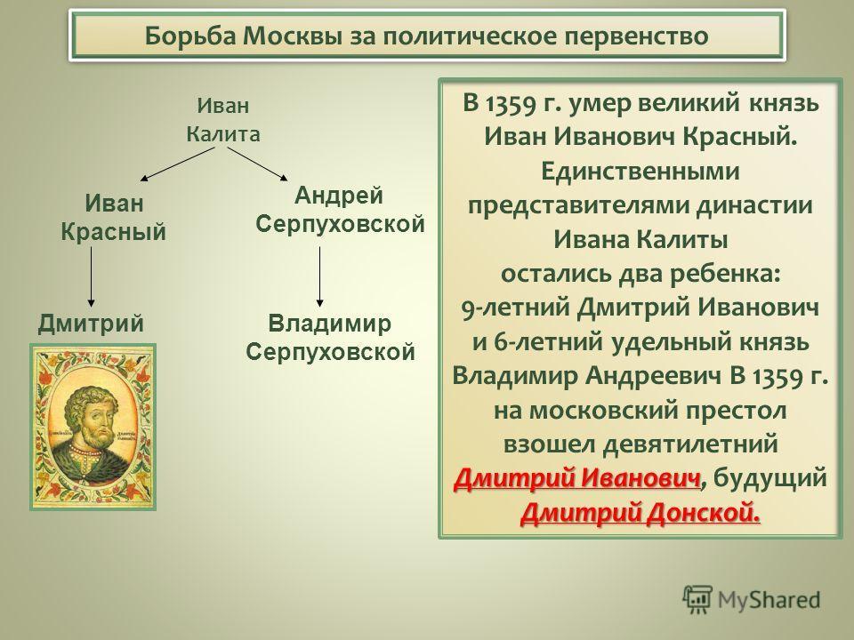 Борьба Москвы за политическое первенство В 1359 г. умер великий князь Иван Иванович Красный. Дмитрий Иванович Дмитрий Донской. Единственными представителями династии Ивана Калиты остались два ребенка: 9-летний Дмитрий Иванович и 6-летний удельный кня