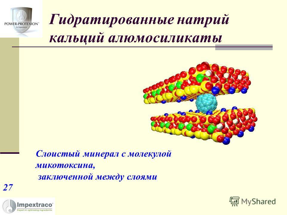 Гидратированные натрий кальций алюмосиликаты Слоистый минерал с молекулой микотоксина, заключенной между слоями 27