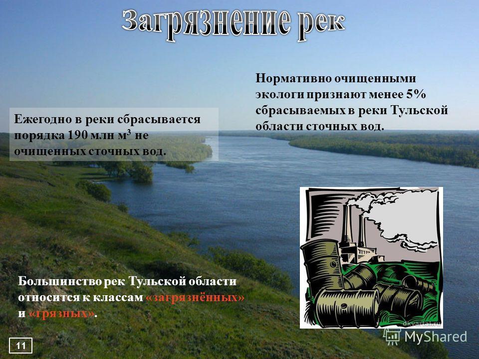 Ежегодно в реки сбрасывается порядка 190 млн м 3 не очищенных сточных вод. Нормативно очищенными экологи признают менее 5% сбрасываемых в реки Тульской области сточных вод. 11 Большинство рек Тульской области относится к классам «загрязнённых» и «гря