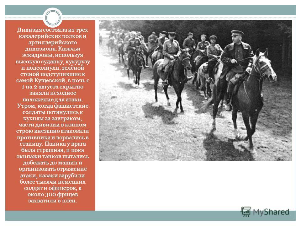 Дивизия состояла из трех кавалерийских полков и артиллерийского дивизиона. Казачьи эскадроны, используя высокую суданку, кукурузу и подсолнухи, зелёной стеной подступившие к самой Кущевской, в ночь с 1 на 2 августа скрытно заняли исходное положение д