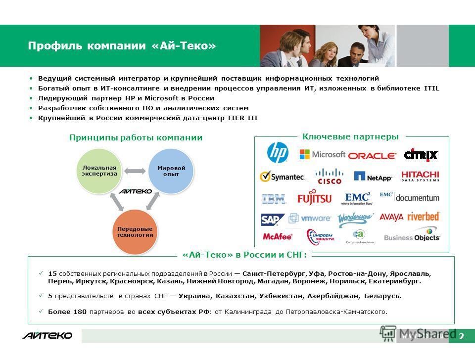 Ведущий системный интегратор и крупнейший поставщик информационных технологий Богатый опыт в ИТ-консалтинге и внедрении процессов управления ИТ, изложенных в библиотеке ITIL Лидирующий партнер НР и Microsoft в России Разработчик собственного ПО и ана