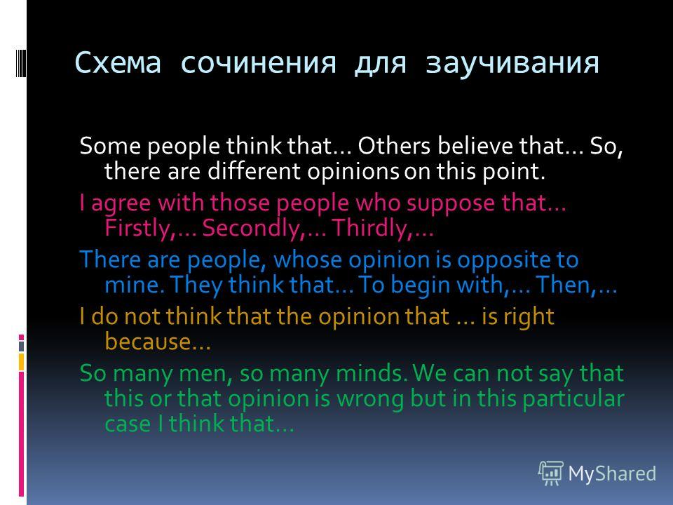 Схема сочинения для заучивания Some people think that… Others believe that… So, there are different opinions on this point. I agree with those people who suppose that… Firstly,… Secondly,… Thirdly,… There are people, whose opinion is opposite to mine