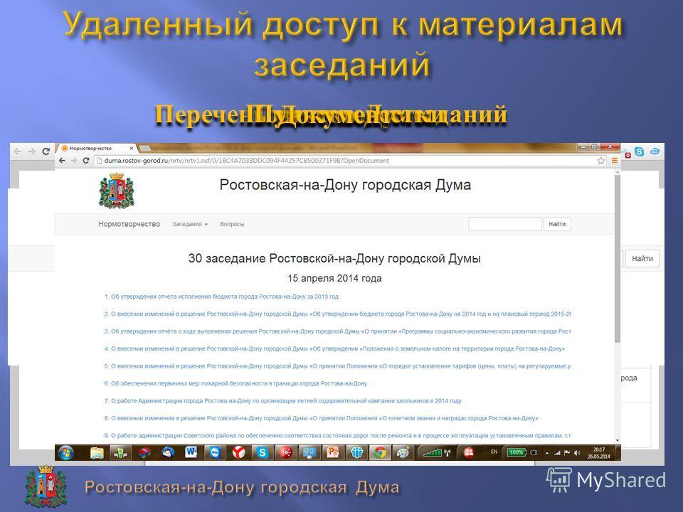 Перечень повесток заседаний Повестка Думы Пункт повестки Документ