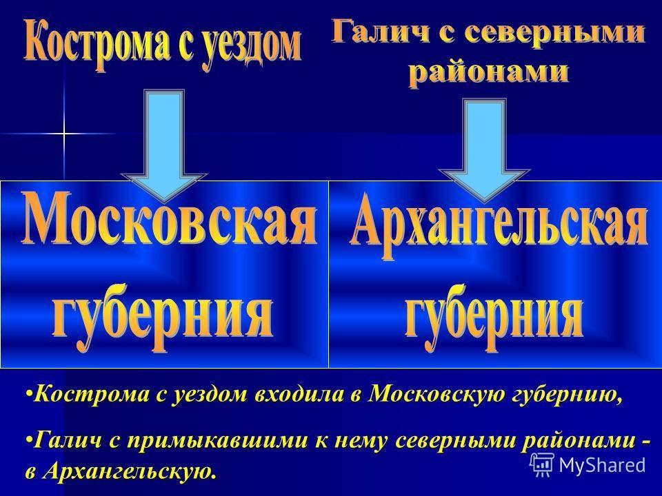 Кострома с уездом входила в Московскую губернию, Галич с примыкавшими к нему северными районами - в Архангельскую.