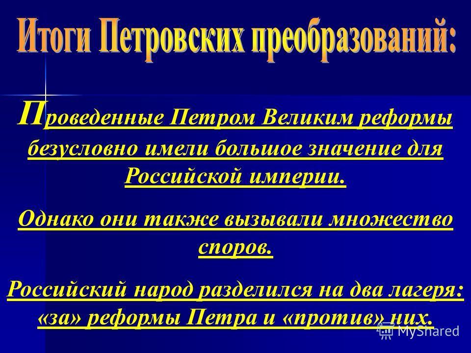 П роведенные Петром Великим реформы безусловно имели большое значение для Российской империи. Однако они также вызывали множество споров. Российский народ разделился на два лагеря: «за» реформы Петра и «против» них.