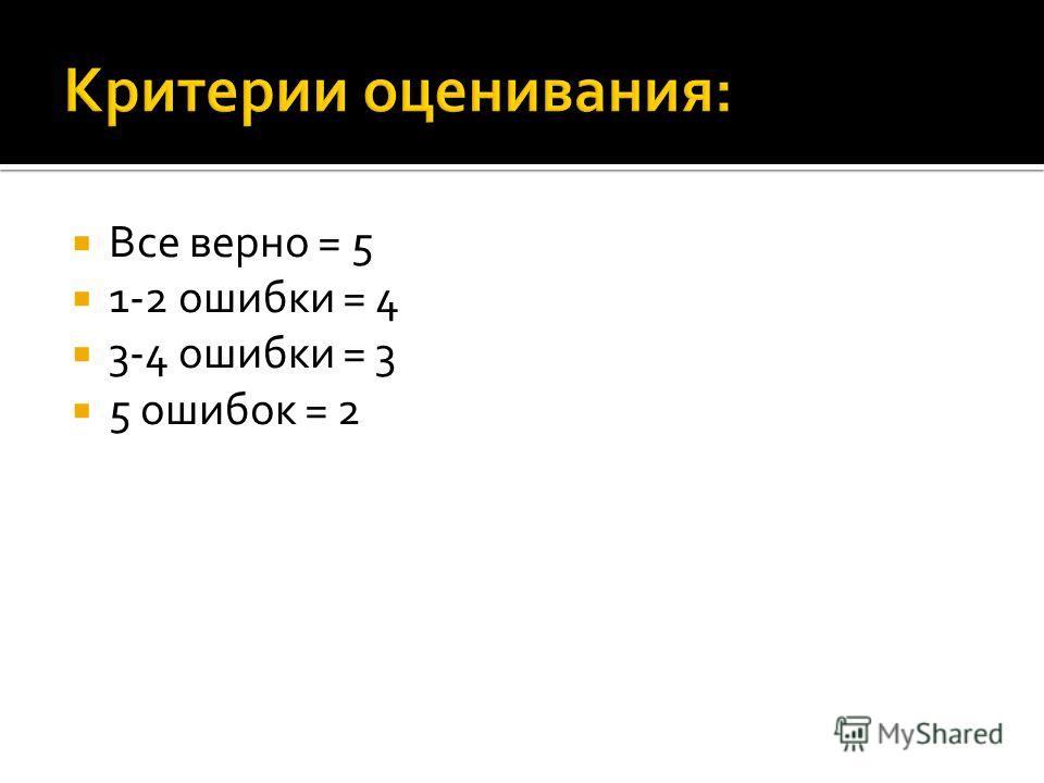 Все верно = 5 1-2 ошибки = 4 3-4 ошибки = 3 5 ошибок = 2