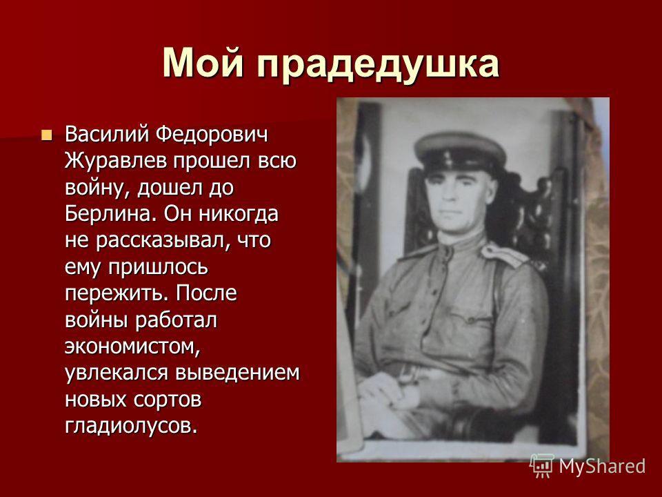 Мой прадедушка Василий Федорович Журавлев прошел всю войну, дошел до Берлина. Он никогда не рассказывал, что ему пришлось пережить. После войны работал экономистом, увлекался выведением новых сортов гладиолусов. Василий Федорович Журавлев прошел всю