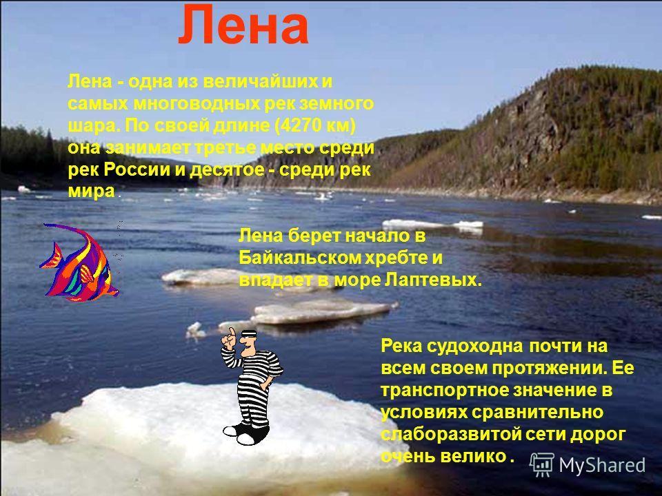 Лена - одна из величайших и самых многоводных рек земного шара. По своей длине (4270 км) она занимает третье место среди рек России и десятое - среди рек мира. Лена Лена берет начало в Байкальском хребте и впадает в море Лаптевых. Река судоходна почт