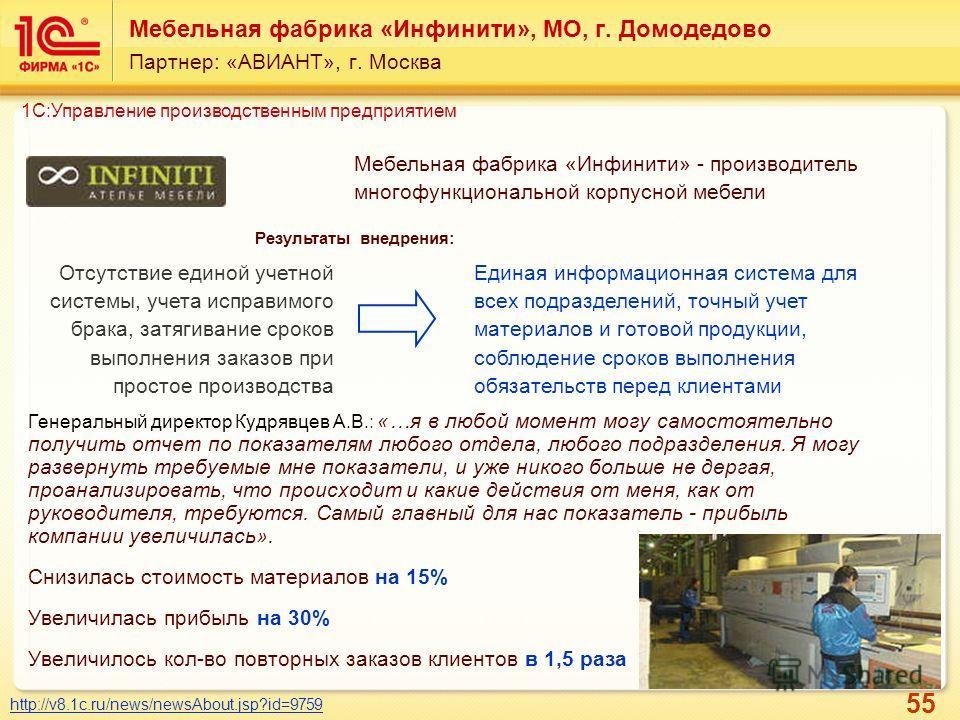55 Мебельная фабрика «Инфинити», МО, г. Домодедово Партнер: «АВИАНТ», г. Москва Мебельная фабрика «Инфинити» - производитель многофункциональной корпусной мебели http://v8.1c.ru/news/newsAbout.jsp?id=9759 Результаты внедрения: Отсутствие единой учетн