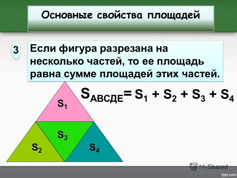 3 3 Если фигура разрезана на несколько частей, то ее площадь равна сумме площадей этих частей. Основные свойства площадей S 1 + S 2 + S 3 + S 4 S АВСДE = S1S1 S2S2 S3S3 S4S4