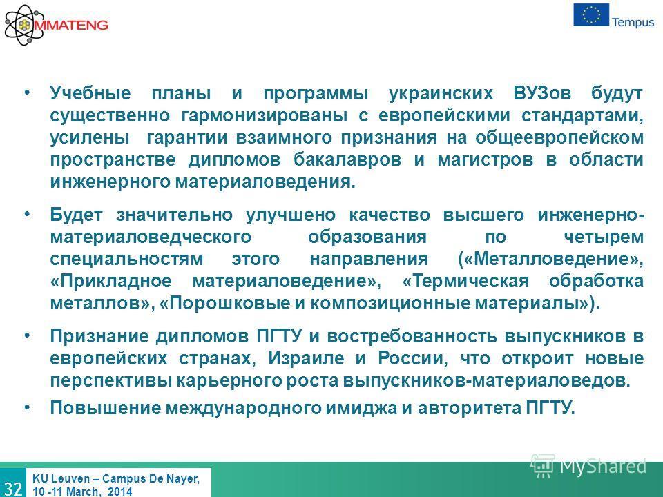 32 KU Leuven – Campus De Nayer, 10 -11 March, 2014 Учебные планы и программы украинских ВУЗов будут существенно гармонизированы с европейскими стандартами, усилены гарантии взаимного признания на общеевропейском пространстве дипломов бакалавров и маг