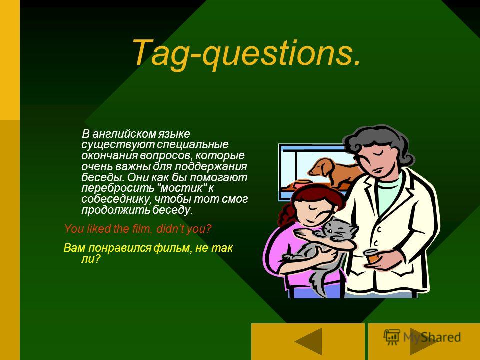Tag-questions. В английском языке существуют специальные окончания вопросов, которые очень важны для поддержания беседы. Они как бы помогают перебросить