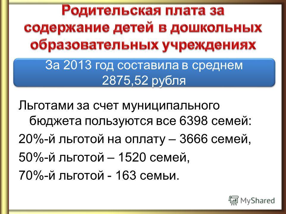 Льготами за счет муниципального бюджета пользуются все 6398 семей: 20%-й льготой на оплату – 3666 семей, 50%-й льготой – 1520 семей, 70%-й льготой - 163 семьи. За 2013 год составила в среднем 2875,52 рубля За 2013 год составила в среднем 2875,52 рубл