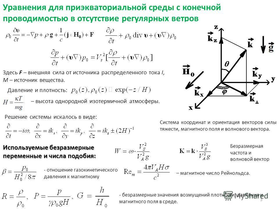 Уравнения для приэкваториальной среды с конечной проводимостью в отсутствие регулярных ветров Система координат и ориентация векторов силы тяжести, магнитного поля и волнового вектора. Давление и плотность: – высота однородной изотермичной атмосферы.