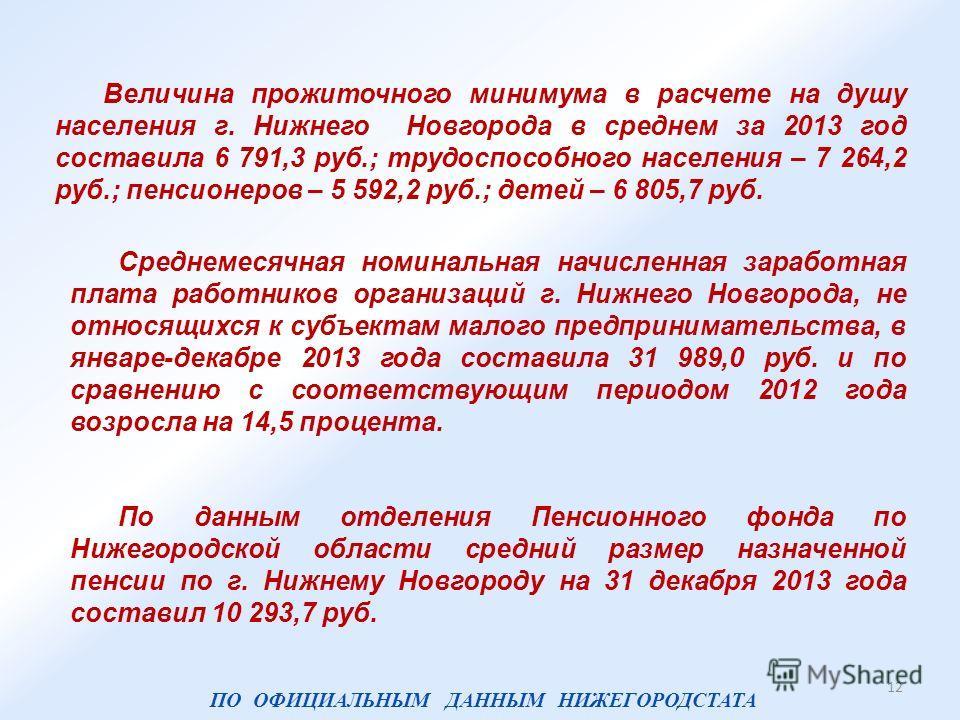 Величина прожиточного минимума в расчете на душу населения г. Нижнего Новгорода в среднем за 2013 год составила 6 791,3 руб.; трудоспособного населения – 7 264,2 руб.; пенсионеров – 5 592,2 руб.; детей – 6 805,7 руб. По данным отделения Пенсионного ф