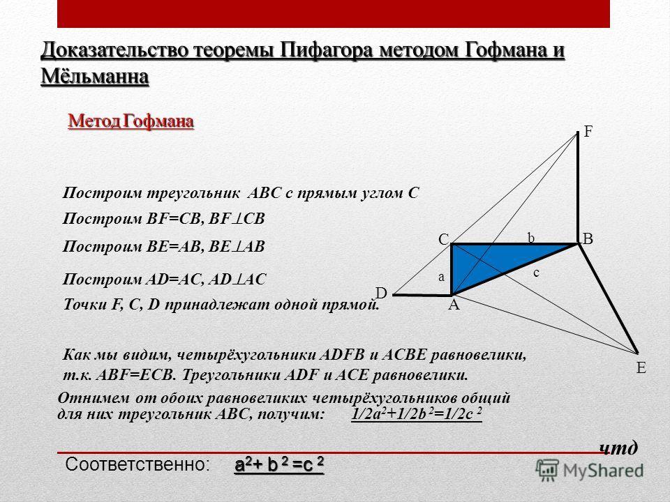 b A B C a c F D E Доказательство теоремы Пифагора методом Гофмана и Мёльманна Метод Гофмана Построим треугольник ABC с прямым углом С Построим BF=CB, BF CB Построим BE=AB, BE AB Построим AD=AC, AD AC Точки F, C, D принадлежат одной прямой. Как мы вид