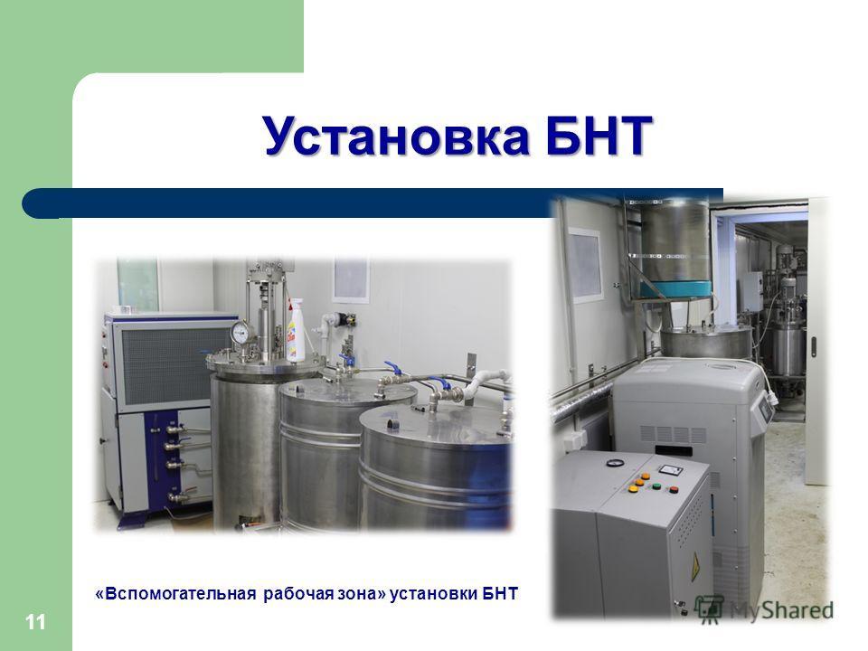 «Вспомогательная рабочая зона» установки БНТ 11 Установка БНТ