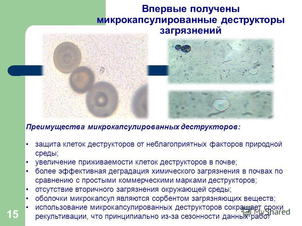 Впервые получены микрокапсулированные деструкторы загрязнений Преимущества микрокапсулированных деструкторов: защита клеток деструкторов от неблагоприятных факторов природной среды; увеличение приживаемости клеток деструкторов в почве; более эффектив
