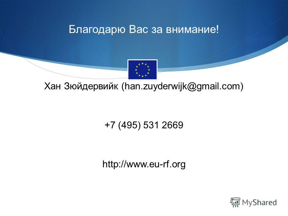 Благодарю Вас за внимание! Хан Зюйдервийк (han.zuyderwijk@gmail.com) +7 (495) 531 2669 http://www.eu-rf.org