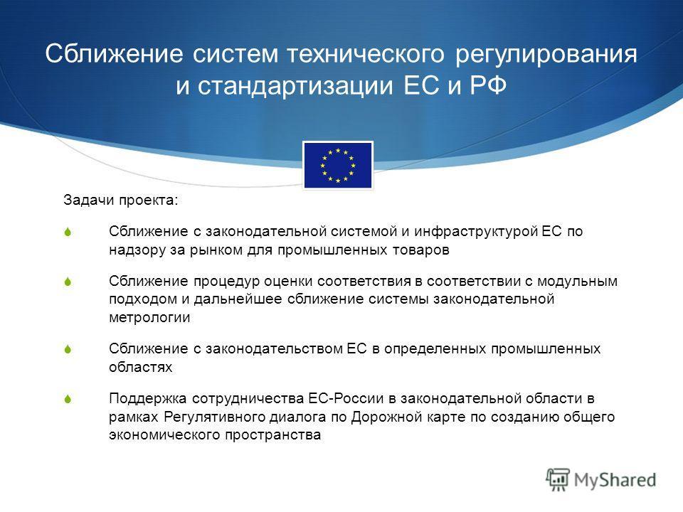 Сближение систем технического регулирования и стандартизации ЕС и РФ Задачи проекта: Сближение с законодательной системой и инфраструктурой ЕС по надзору за рынком для промышленных товаров Сближение процедур оценки соответствия в соответствии с модул