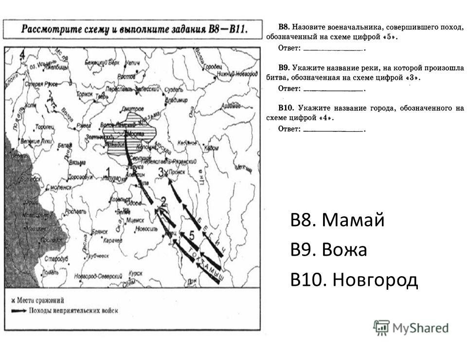 В8. Мамай В9. Вожа В10. Новгород