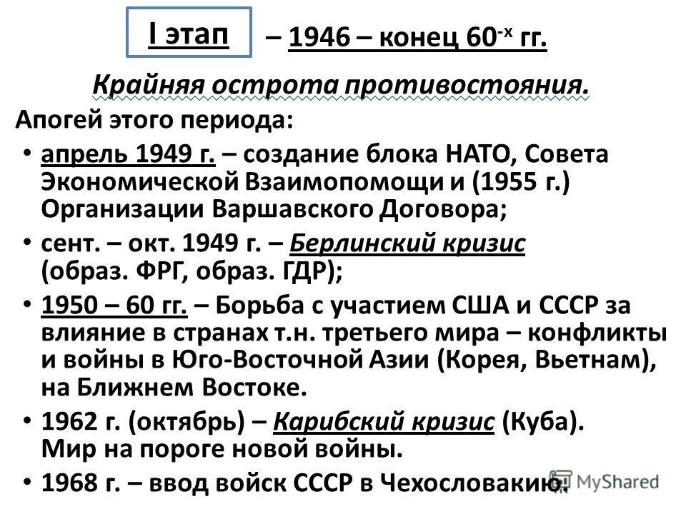 Крайняя острота противостояния. Апогей этого периода: апрель 1949 г. – создание блока НАТО, Совета Экономической Взаимопомощи и (1955 г.) Организации Варшавского Договора; сент. – окт. 1949 г. – Берлинский кризис (образ. ФРГ, образ. ГДР); 1950 – 60 г