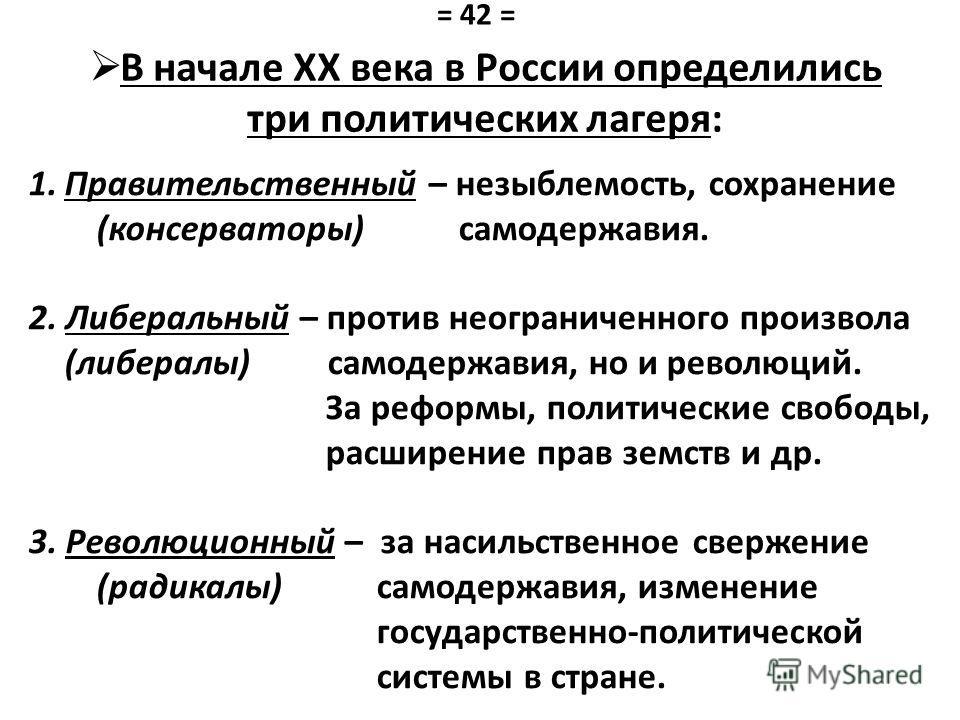 В начале XX века в России определились три политических лагеря: 1. Правительственный – незыблемость, сохранение (консерваторы) самодержавия. 2. Либеральный – против неограниченного произвола (либералы) самодержавия, но и революций. За реформы, полити