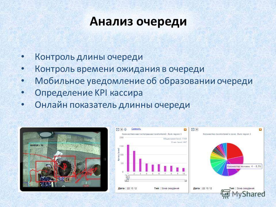 Контроль длины очереди Контроль времени ожидания в очереди Мобильное уведомление об образовании очереди Определение KPI кассира Онлайн показатель длинны очереди