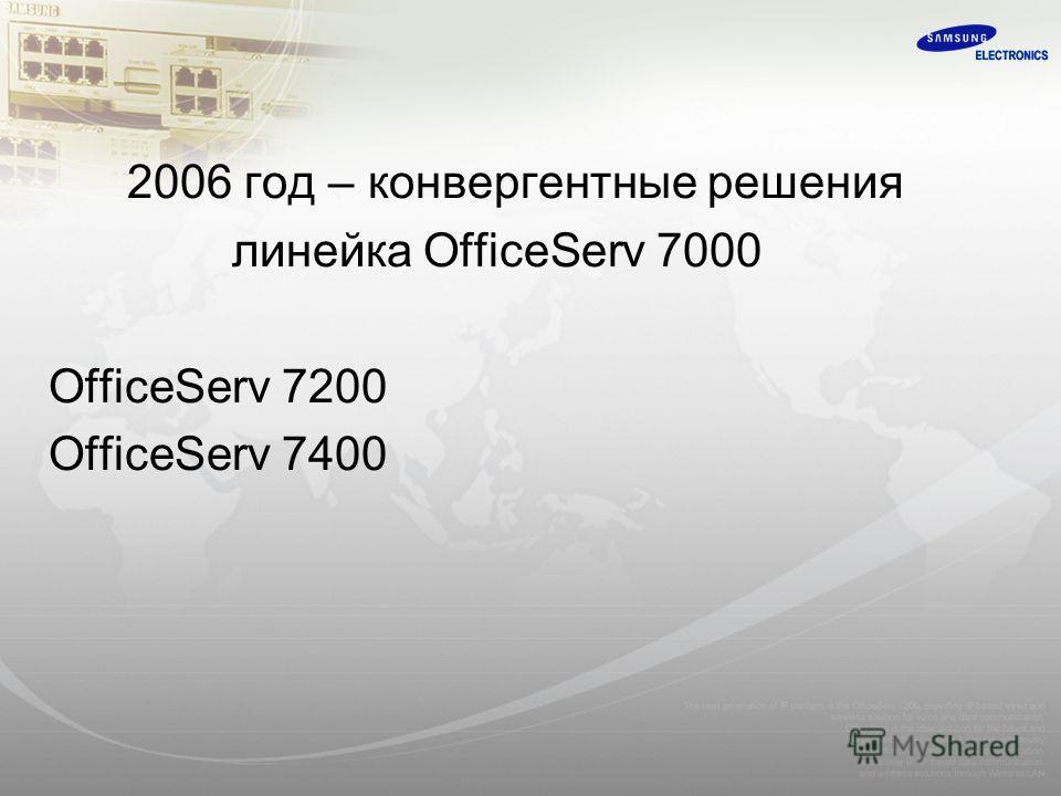 2006 год – конвергентные решения линейка OfficeServ 7000 OfficeServ 7200 OfficeServ 7400