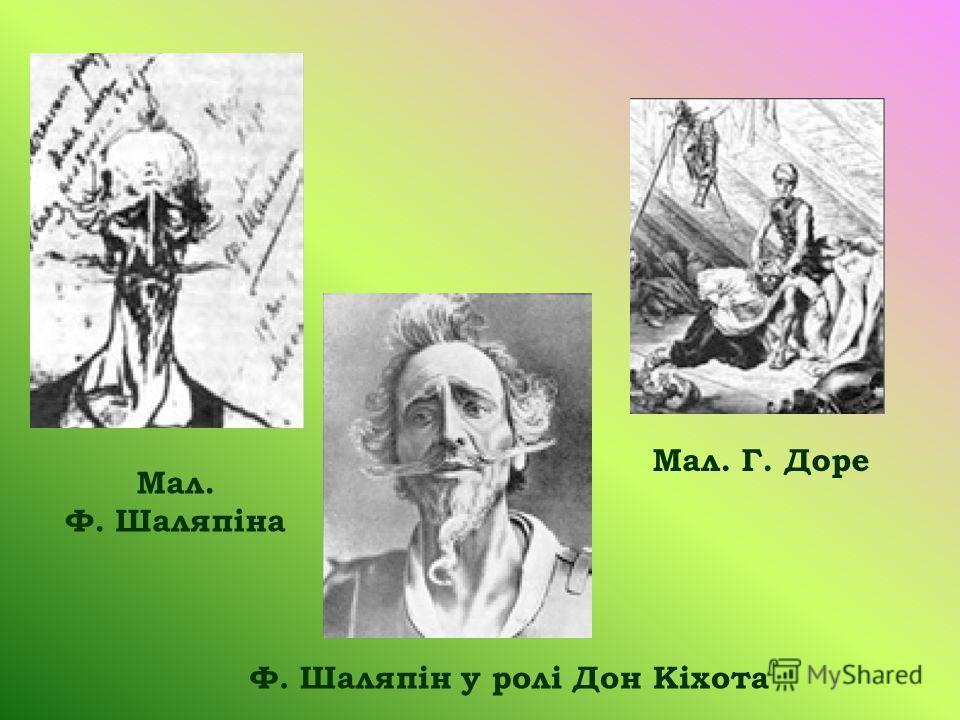 Мал. Ф. Шаляпіна Мал. Г. Доре Ф. Шаляпін у ролі Дон Кіхота