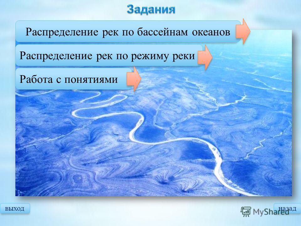 выходназад Распределение рек по бассейнам океанов Распределение рек по режиму реки Работа с понятиями
