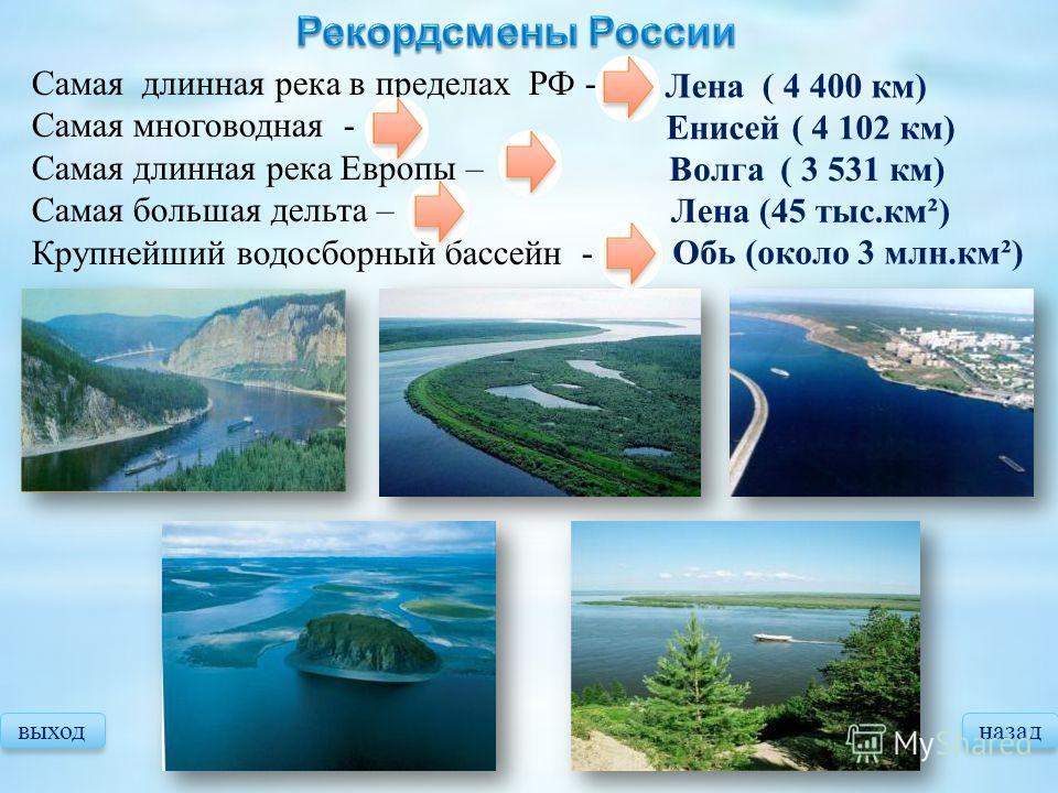 выходназад Самая длинная река в пределах РФ - Самая многоводная - Самая длинная река Европы – Самая большая дельта – Крупнейший водосборный бассейн - Лена ( 4 400 км) Енисей ( 4 102 км) Волга ( 3 531 км) Лена (45 тыс.км²) Обь (около 3 млн.км²)