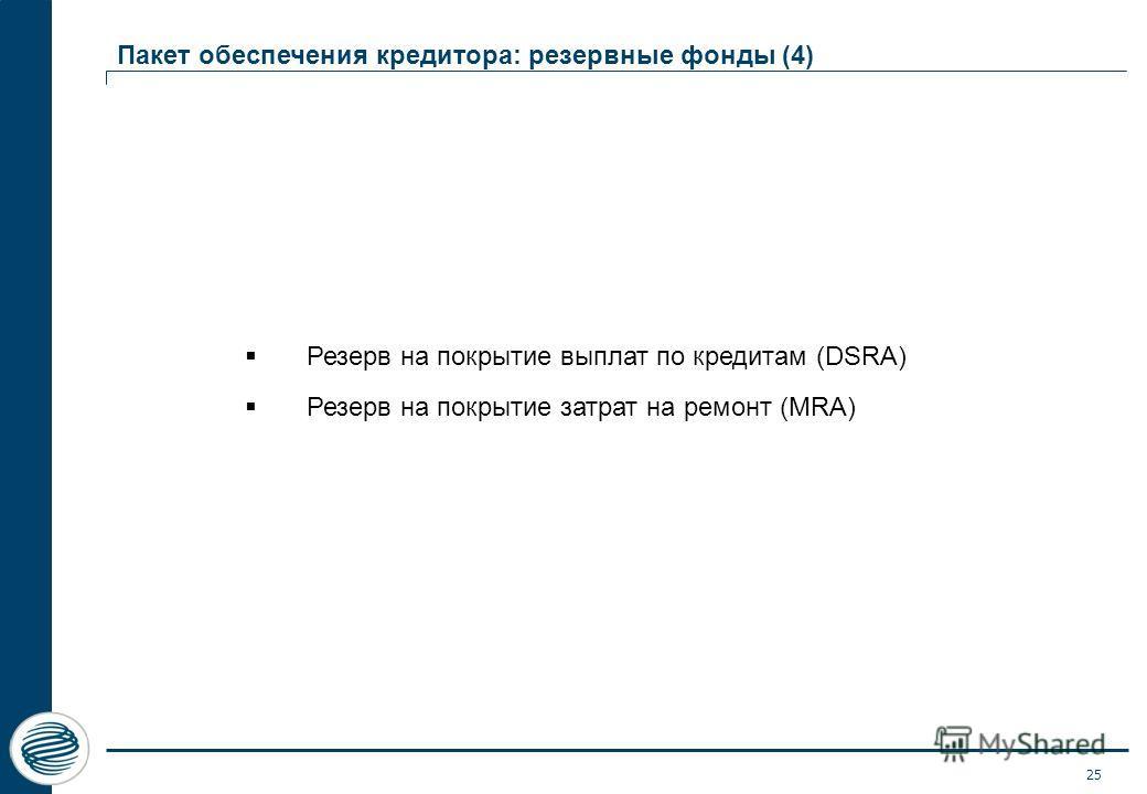 25 Пакет обеспечения кредитора: резервные фонды (4) Резерв на покрытие выплат по кредитам (DSRA) Резерв на покрытие затрат на ремонт (MRA)