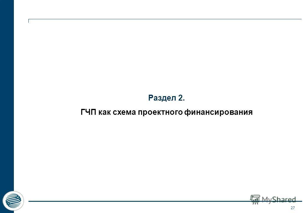 27 Раздел 2. ГЧП как схема проектного финансирования