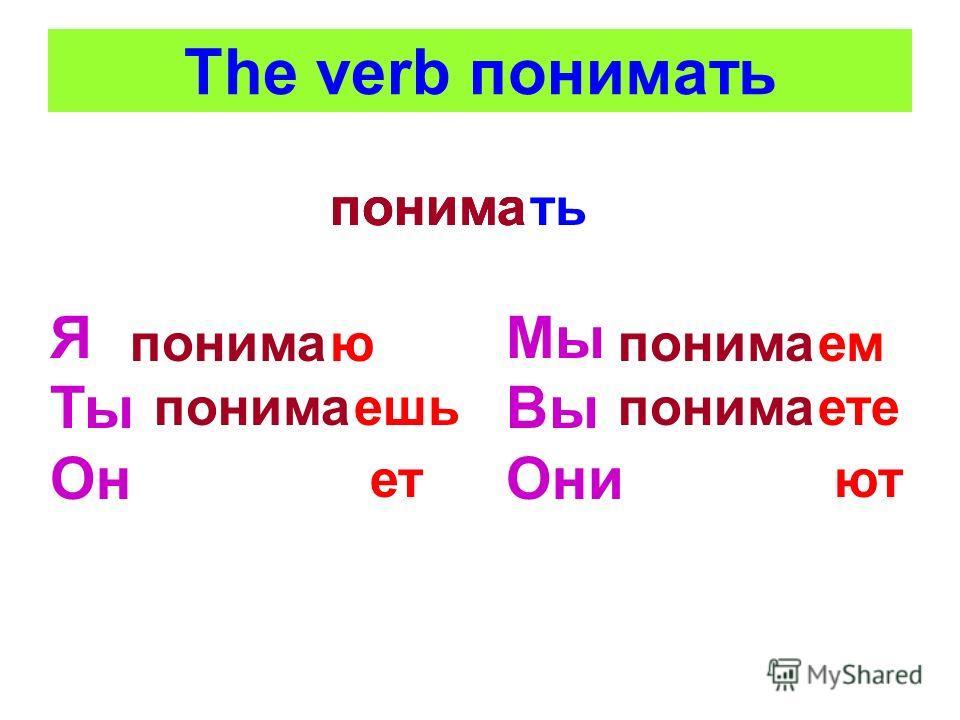 The verb понимать тьпонима Я Ты Он ю ешьпонима ет Мы Вы Они понима емпонима етепонима ют
