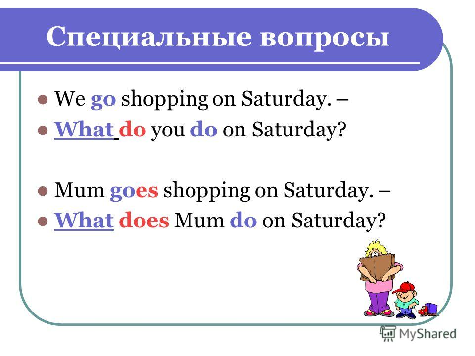 Специальные вопросы We go shopping on Saturday. – What do you do on Saturday? Mum goes shopping on Saturday. – What does Mum do on Saturday?