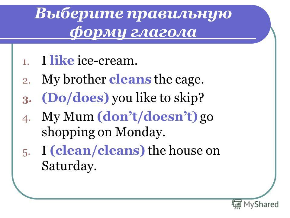 Выберите правильную форму глагола 1. I like ice-cream. 2. My brother cleans the cage. 3. (Do/does) you like to skip? 4. My Mum (dont/doesnt) go shopping on Monday. 5. I (clean/cleans) the house on Saturday.