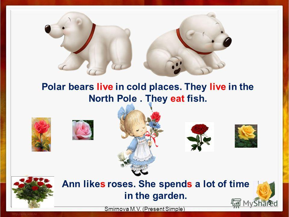 Polar bears live in cold places. They live in the North Pole. They eat fish. Ann likes roses. She spends a lot of time in the garden. 5 Smirnova M.V. (Present Simple)