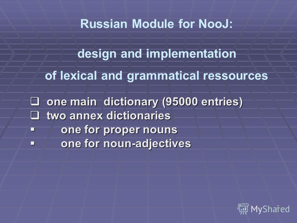 2 one main dictionary (95000 entries) one main dictionary (95000 entries) two annex dictionaries two annex dictionaries one for proper nouns one for proper nouns one for noun-adjectives one for noun-adjectives Russian Module for NooJ: design and impl