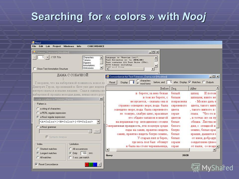 20 Searching for « colors » with Nooj